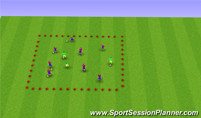 Football/Soccer Session Plan Drill (Colour): Screen 2 ball mastery