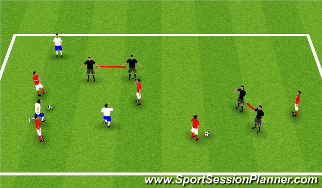 Football/Soccer Session Plan Drill (Colour): Moving goal game