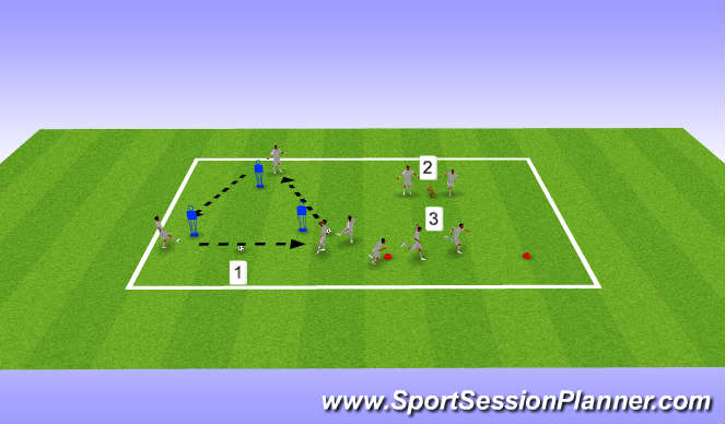 Football/Soccer Session Plan Drill (Colour): U16s, Week 31, Session 1, Strength/Speed