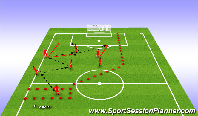 Football/Soccer Session Plan Drill (Colour): POP - 7 Plays a combination with the striker for 11 to penetrate on the far side