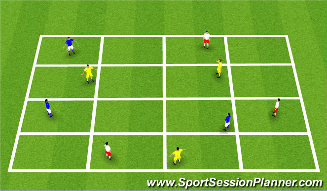 Football/Soccer Session Plan Drill (Colour): Grid - Progression
