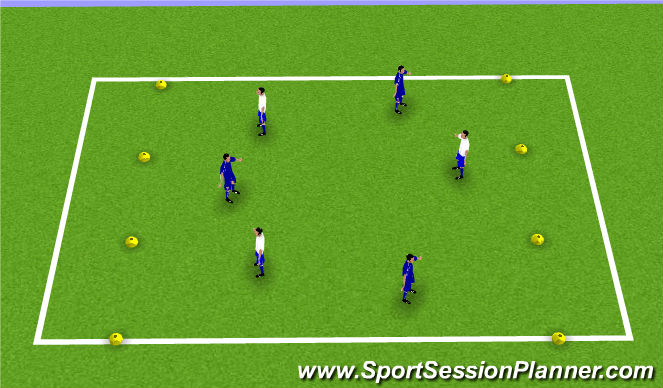 Football/Soccer Session Plan Drill (Colour): 3v3 to end zones