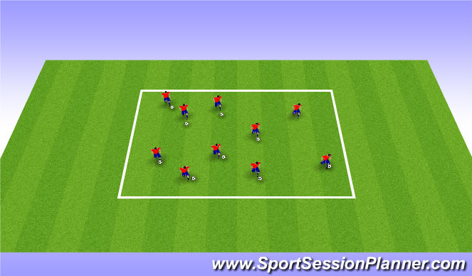 Football/Soccer Session Plan Drill (Colour): Warm-up/King of the hill