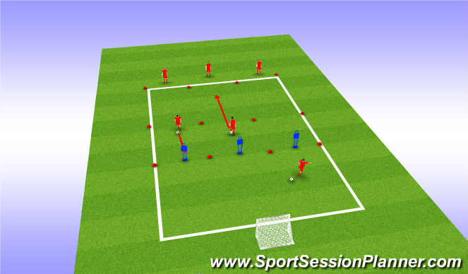 Football/Soccer Session Plan Drill (Colour): Dribble + Turn + Shoot