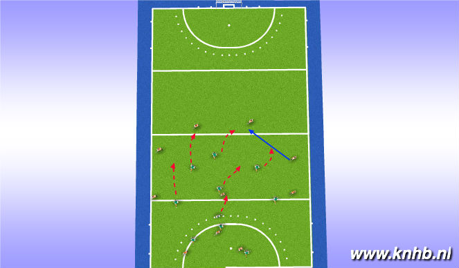 Hockey Session Plan Drill (Colour): 1/2 court puss out