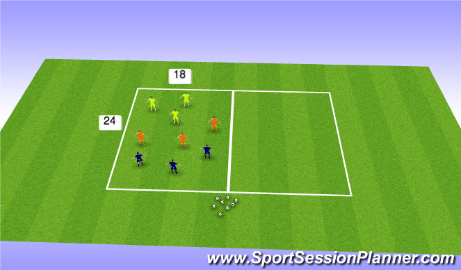 Football/Soccer Session Plan Drill (Colour): Three Team Game