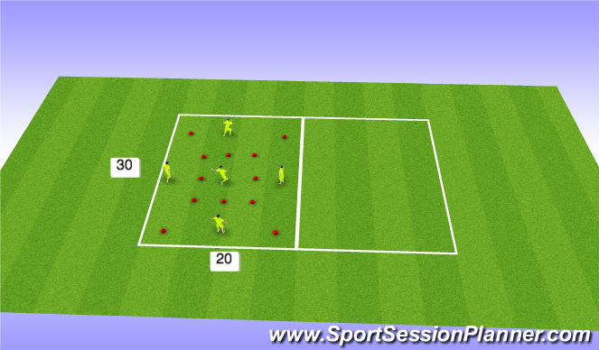 Football/Soccer Session Plan Drill (Colour): Pass/move/change places with 3rd player