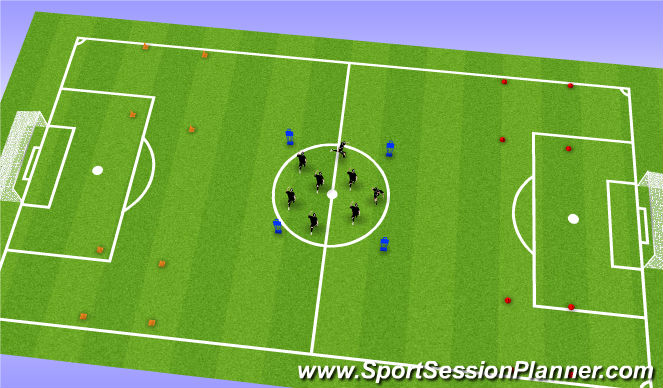 Football/Soccer Session Plan Drill (Colour): Warm up - Skills Box
