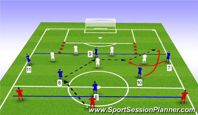 Football/Soccer Session Plan Drill (Colour): Stage 2 - 6v5