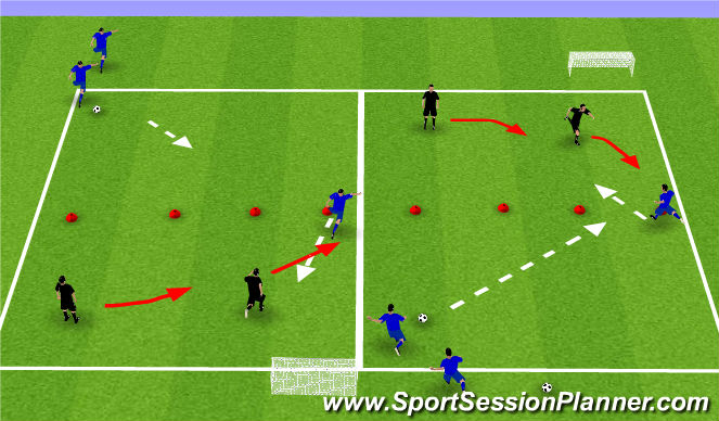 Football/Soccer Session Plan Drill (Colour): 1 v 2 showing inside