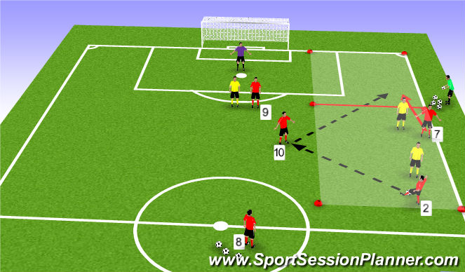 Football/Soccer Session Plan Drill (Colour): Involving the number 10