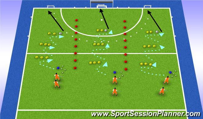 Hockey Session Plan Drill (Colour): backhand drag