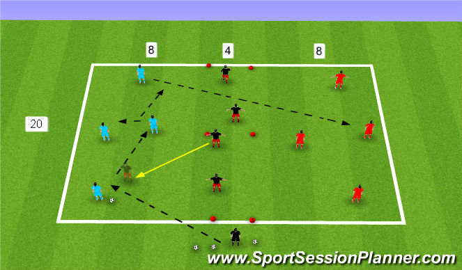 Football/Soccer Session Plan Drill (Colour): SSA:3 zone game