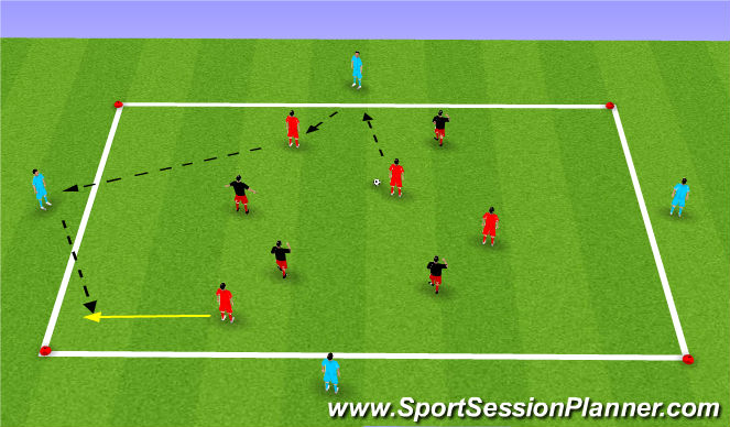 Football/Soccer Session Plan Drill (Colour): 4 v 4 w/support players