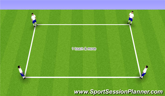 Football/Soccer Session Plan Drill (Colour): 1 touch & move