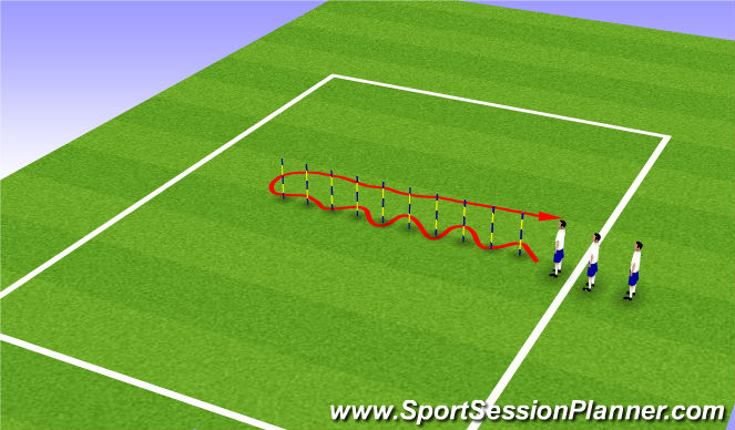 Football/Soccer Session Plan Drill (Colour): Dribbling Stakes