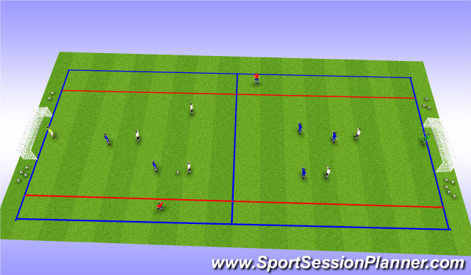 Football/Soccer Session Plan Drill (Colour): 6 v 6 + 2