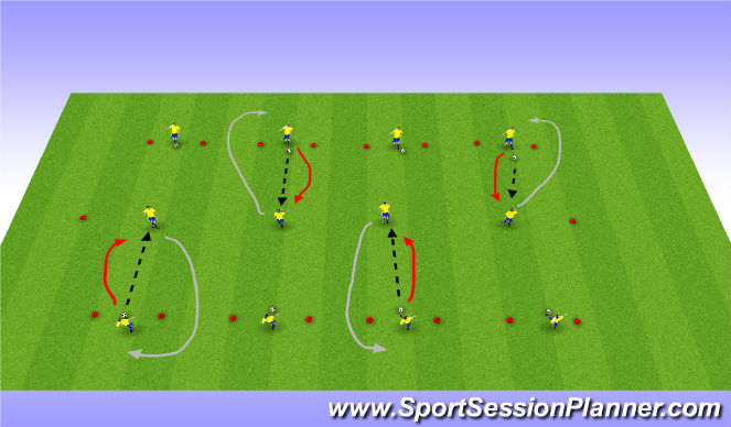 Football/Soccer Session Plan Drill (Colour): With passing
