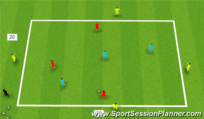 Football/Soccer Session Plan Drill (Colour): 3 v 3  with support players