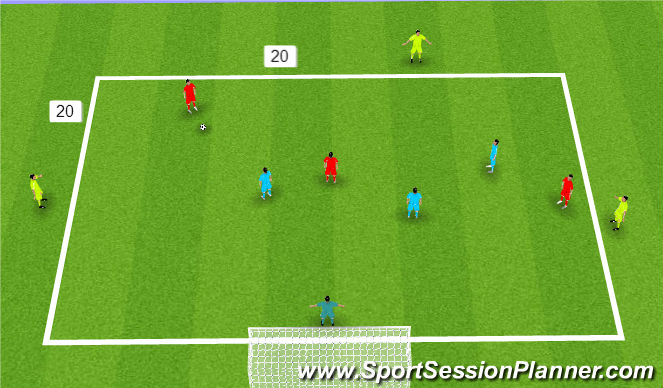 Football/Soccer Session Plan Drill (Colour): 3 V 3 +3 with GK