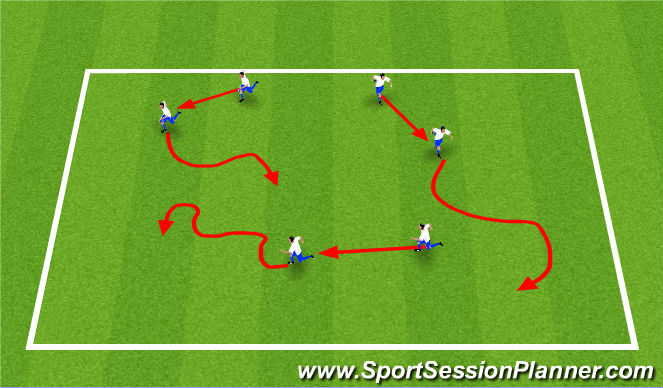 Football/Soccer Session Plan Drill (Colour): Warm Up - Shadow Tag - 5 minutes