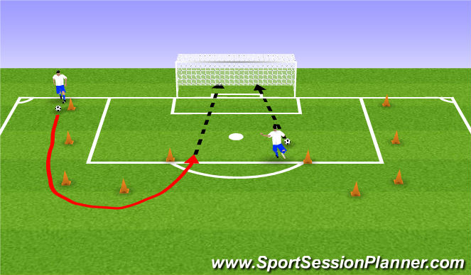 Football/Soccer Session Plan Drill (Colour): Circle M Shooting - 10-15 minutes