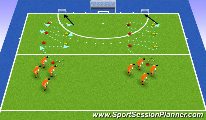 Hockey Session Plan Drill (Colour): backhand drag