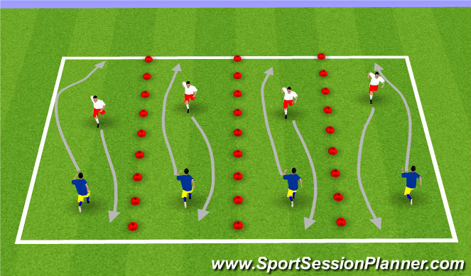 Football/Soccer Session Plan Drill (Colour): Opposed Ball Mastery Drill