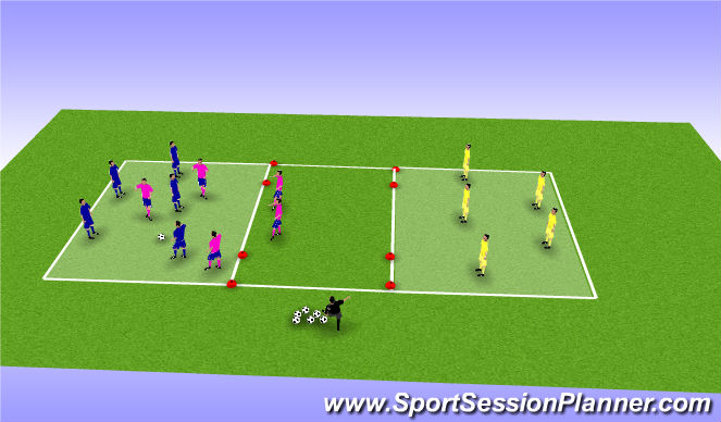 Football/Soccer Session Plan Drill (Colour): 3 Cuadrados