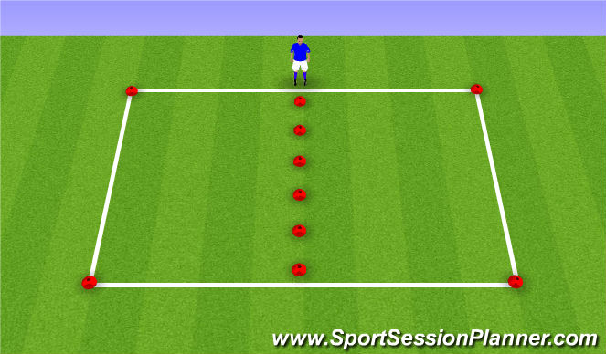 Football/Soccer Session Plan Drill (Colour): Dribbling - Inside / Outside