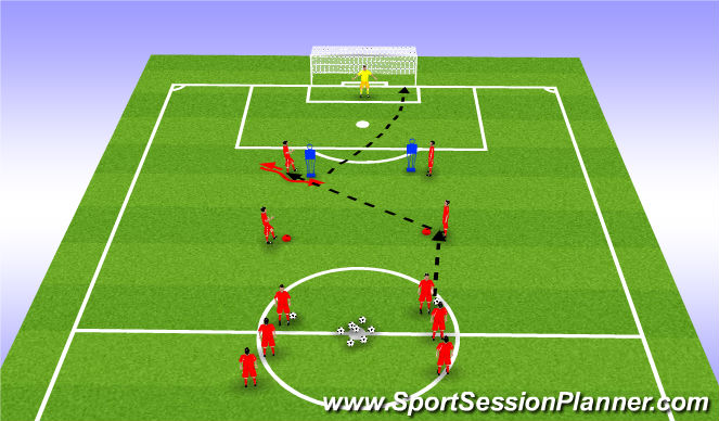 Football/Soccer Session Plan Drill (Colour): Unopposed curled shot