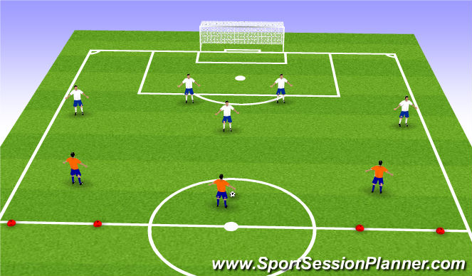 Football/Soccer Session Plan Drill (Colour): 5 v 3 Defending