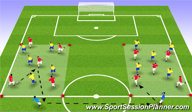 Football/Soccer Session Plan Drill (Colour): Δ.ΑΛΛΑΓΗ ΠΛΕΥΡΑΣ-ΠΑΙΧΝΙΔΙΟΥ (15')