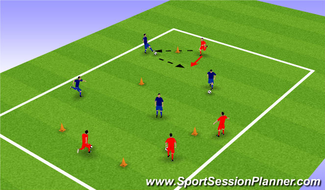 Football/Soccer Session Plan Drill (Colour): 1-2 Warm Up