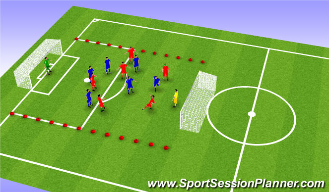 Football/Soccer Session Plan Drill (Colour): Finishing game - Combining in a 4-2-3-1 formation
