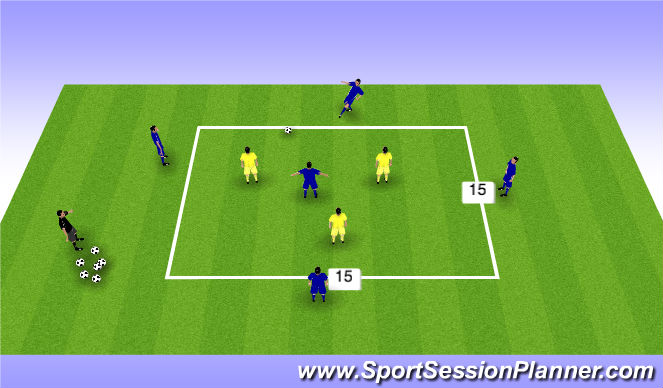 Football/Soccer Session Plan Drill (Colour): Posesion 5v3
