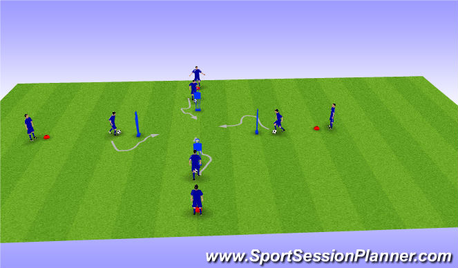 Football/Soccer Session Plan Drill (Colour): Par 4 Defensas