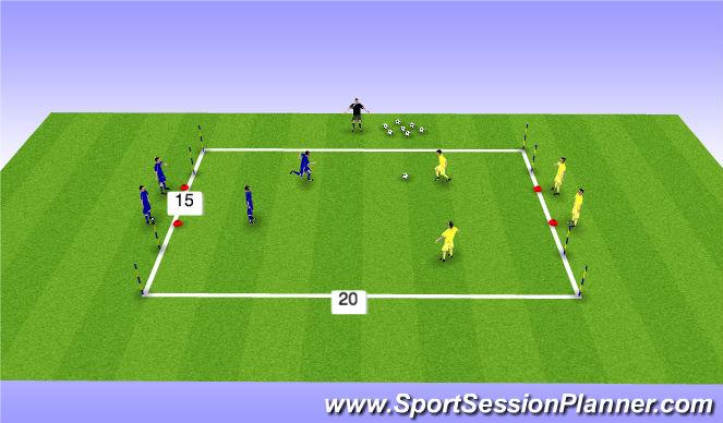 Football/Soccer Session Plan Drill (Colour): 2v2 4 porterias