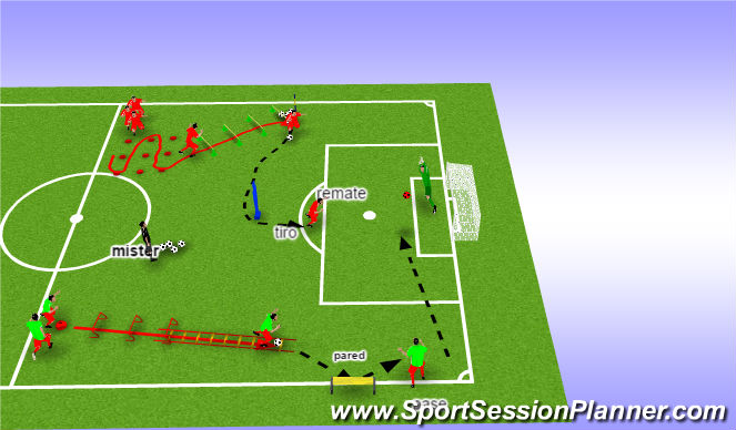 Football/Soccer Session Plan Drill (Colour): circuito velocidad