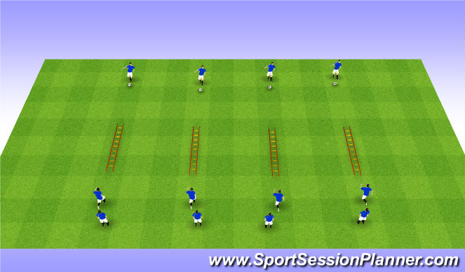 Football/Soccer Session Plan Drill (Colour): Ladders & Pass