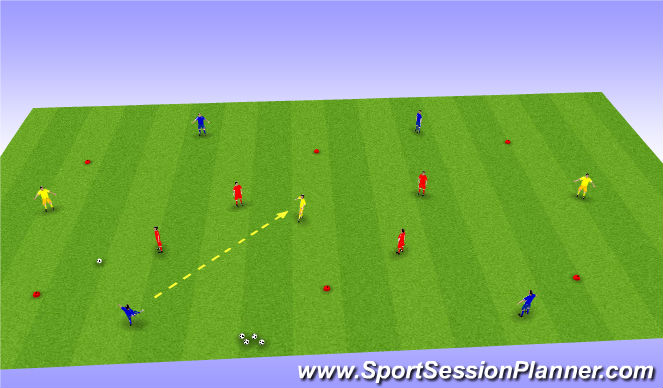 Football/Soccer Session Plan Drill (Colour): 4 v 4 + 3 Rondo