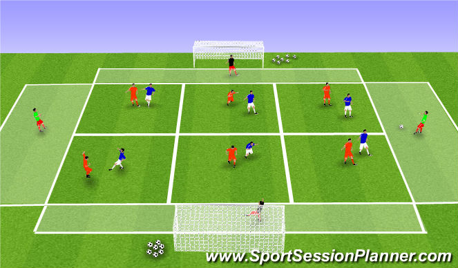 Football/Soccer Session Plan Drill (Colour): Zonal Game. Playing under pressure.