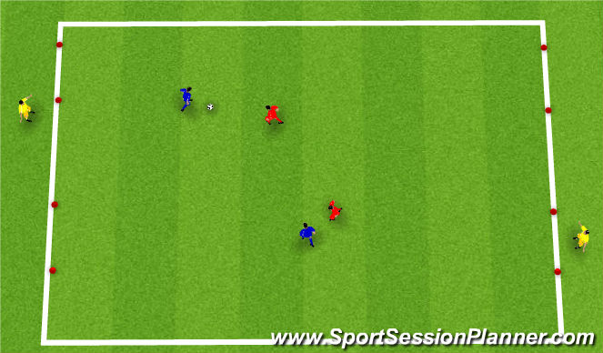 Football/Soccer Session Plan Drill (Colour): 2v2 + 2