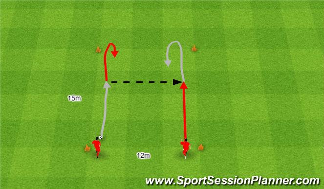 Football/Soccer Session Plan Drill (Colour): Podania i przyjęcia piłki w ruchu.