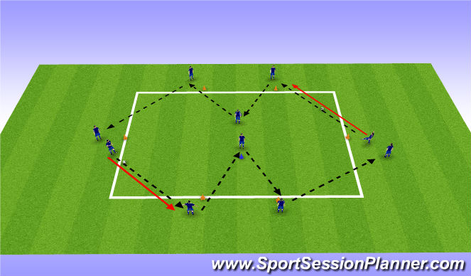 Football/Soccer Session Plan Drill (Colour): Passing Block