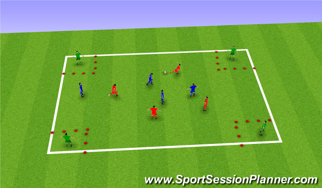 Football/Soccer Session Plan Drill (Colour): Turning to switch the play (skill)