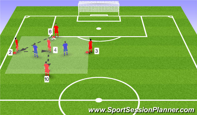Football/Soccer Session Plan Drill (Colour): 5v2/6v4 rondo