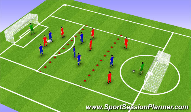 Football/Soccer Session Plan Drill (Colour): SSG playing out from back