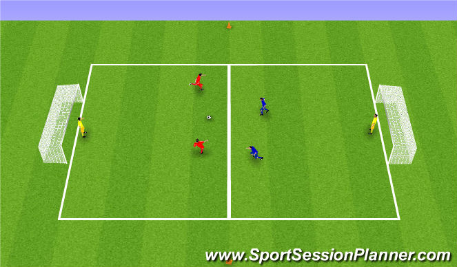 Football/Soccer Session Plan Drill (Colour): 2 á 2 á afmörkuðu svæði.