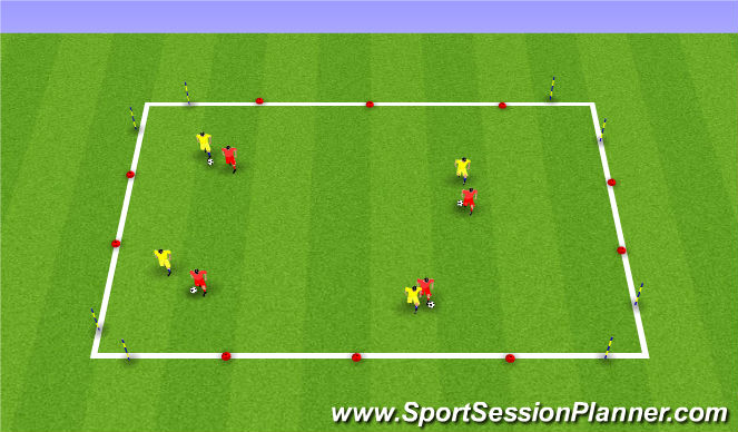 Football/Soccer Session Plan Drill (Colour): 1v1 4 mini goals